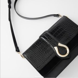 BRAND NEW ZARA Embossed Leather Crossbody Bag